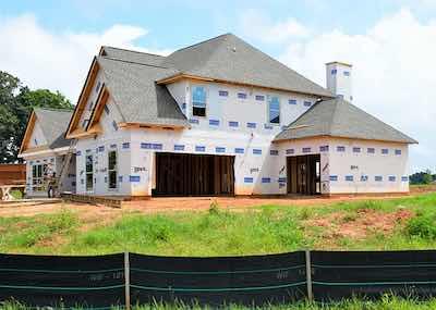 A custom home being built