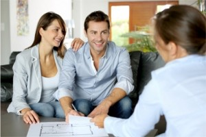 Couple getting a custom home consultation